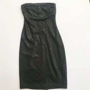 Bebe Black Strapless Dress animal print XS